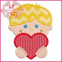 Happy Valentine Boy Applique 4x4 5x7 6x10 7x11 SVG