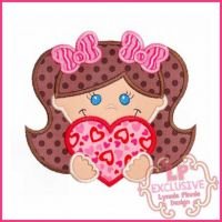 Happy Valentine Girl Applique 4x4 5x7 6x10 7x11 SVG