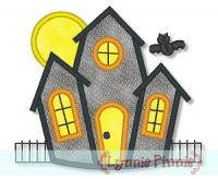 Haunted House Applique 4x4 5x7 6x10