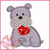 Bobbin the Bulldog with Heart Applique 4x4 5x7 6x10 7x11 SVG