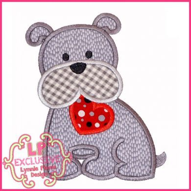 Bobbin the Bulldog with Heart Applique 4x4 5x7 6x10 7x11 SVG