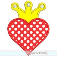 Heart with Crown Applique 4x4 5x7 6x10 7x11 SVG