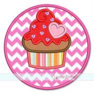 Heart Cupcake Circle Frame Applique 4x4 5x7 6x10 7x11 SVG