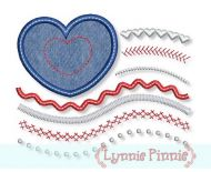 Mixed Stripes Heart Flag Applique 4x4 5x7 6x10