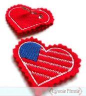 Heart Flag Felt Clippies Design 4x4