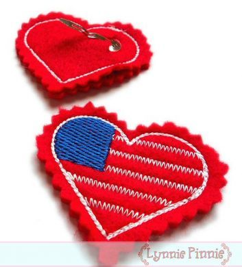 Heart Flag Felt Clippies Design 4x4