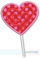 Swirly Heart Lollipop Applique 4x4 5x7 6x10