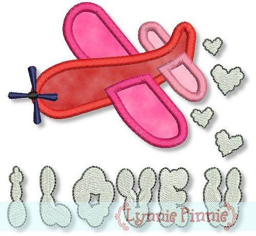 I Love U Hearts Airplane Applique 4x4 5x7