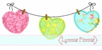 Simple Hearts on a Clothesline 4x4 5x7 6x10 7x11 SVG