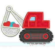 Digger with Hearts Applique 4x4 5x7 6x10 SVG