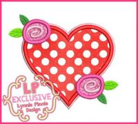 Heart Roses Applique 4x4 5x7 6x10 7x11