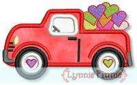 Truck Full of Hearts Applique 4x4 5x7