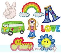 Applique Hippie Love Set 4x4 & 5x7