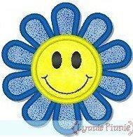 Applique Happy Face Flower 4x4 & 5x7
