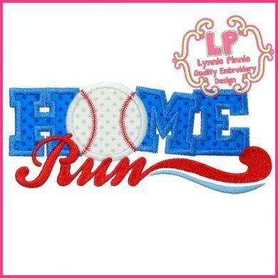Home Run Applique 4x4 5x7 6x10 SVG