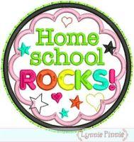Home School Rocks Applique Circle Scallop 4x4 5x7 6x10