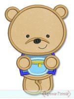 Honey Bear Applique 4x4 5x7 6x10 SVG