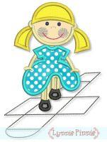 Hopscotch Girl Applique 4x4 5x7 6x10