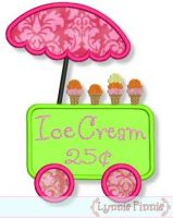 Ice Cream Cart Applique 4x4 5x7 6x10
