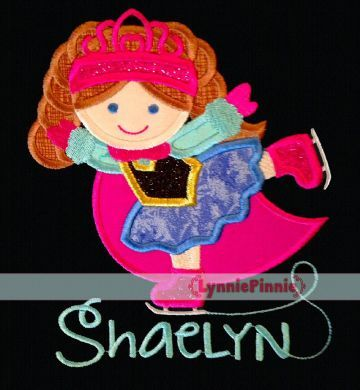 Ice Skate Princess 1 Applique 4x4 5x7 6x10 7x11 SVG