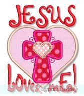 Jesus Loves Me Heart Applique Embroidery Design File 4x4 5x7 6x10 Exclusive Artwork