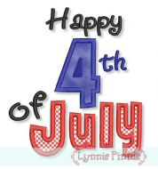 Happy 4th of July Applique 4x4 5x7 6x10