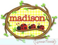 Ladybugs on a Branch Applique Monogram Name Frame 4x4 5x7 6x10 7x11