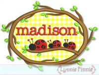 Ladybugs on a Branch Applique Monogram Name Frame 4x4 5x7 6x10 7x11