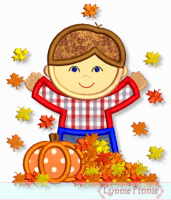 Fall Leaves Boy Applique 4x4 5x7 6x10 7x11