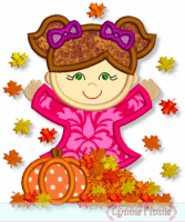 Fall Leaves Girl Applique 4x4 5x7 6x10 7x11