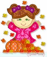 Fall Leaves Girl Applique 4x4 5x7 6x10 7x11