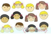 Little Faces Applique Set 4x4 5x7 6x10