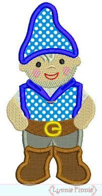 Little Gnome Boy Applique 4x4 5x7 6x10