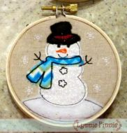 Snowman Applique for Little Hoops Ornament 4x4 5x7