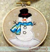 Snowman Applique for Little Hoops Ornament 4x4 5x7