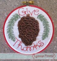 Pinecone Applique for Little Hoops Ornament 4x4 5x7