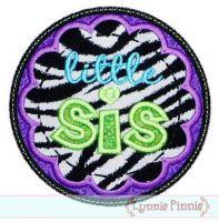 Little Sis Applique Circle Scallop 4x4 5x7 6x10