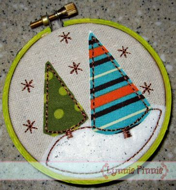 Trees & Snow Applique for Little Hoops Ornament 4x4 5x7