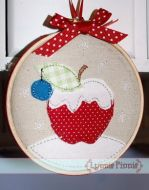 Winter Apple Applique for Little Hoops 4x4 5x7