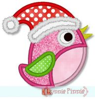 Santa Hat Bird Applique 4x4 5x7 6x10