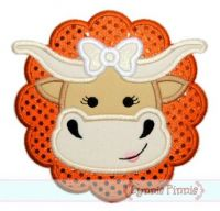 Longhorn Girl Cow Applique 4x4 5x7 6x10 7x11 SVG