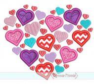 Lots of Hearts Applique 4x4 5x7 6x10 7x11 SVG