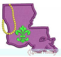 State of Louisiana with Mardi Gras Beads Applique 4x4 5x7 6x10