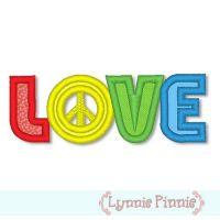 Peace Sign Love Applique 4x4 & 5x7