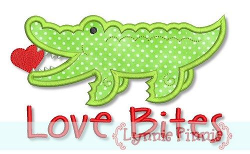 Love Bites Alligator Applique 4x4 5x7 6x10