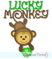 Lucky Monkey with Shamrock Applique 4x4 5x7 6x10