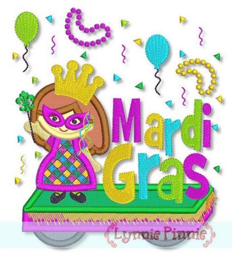 Mardi Gras Parade Float Girl 5x7 6x10 - optional fringe