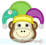 Mardi Gras Monkey Face Applique 4x4 5x7 6x10