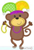 Mardi Gras Dancing Monkey Applique 4x4 5x7 6x10