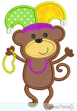 Mardi Gras Dancing Monkey Applique 4x4 5x7 6x10